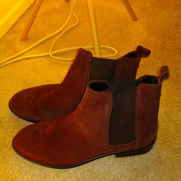 Wide Fit Burgundy Chelsea Ankle Suede